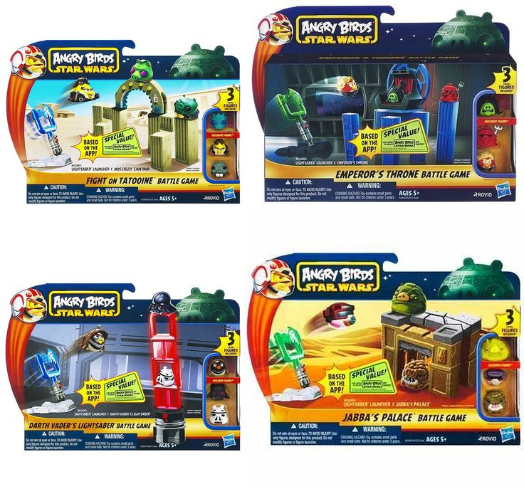 Star Wars Angry Birds Set of 4 Battle Games. Includes Star Wars Angry Birds Emperor's Throne Room Battle Game. Jabba's Palace Battle Game. Darth Vader's Lightsaber Battle Game. Fight On Tatooine Battle Game. Includes 12 Exclusive Figures.