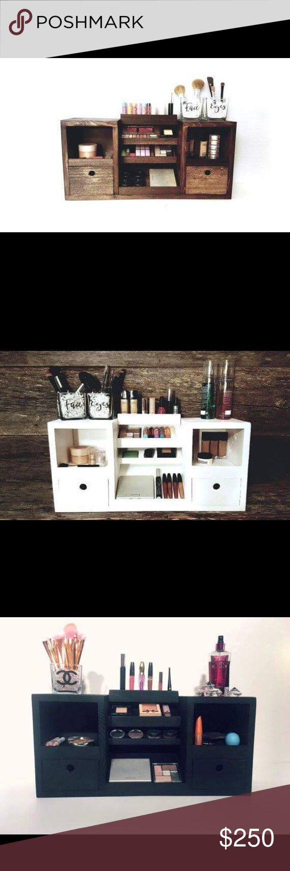 Makeup Organizer . Price Firm Large wooden makeup organizer. Can be painted in black, white, dark walnut or country grey. Makeup and props not included. highland design co Makeup Brushes & Tools