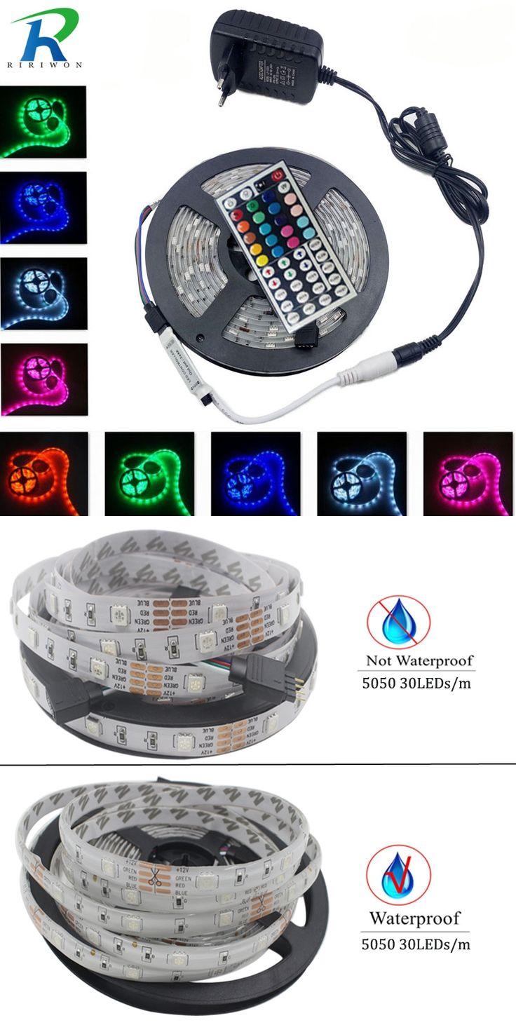 RiRi won 5050SMD RGB Led Strip Light fita de 4M 5M 8M 10M led RGB Tape Diode feed tiras lampada ac dc 12V led light full set