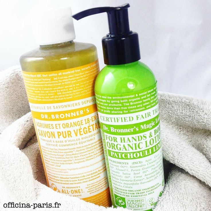 """Marque Culte! DR. BRONNER'S MAGIC SOAP est le savon naturel le plus vendu aux USA. Multi-usages, fabriqué à partir d'huiles bio et certifiées """"commerce équitable"""", ce savon unique nettoie efficacement sans être agressif. Enjoy! Disponible dans l'e-shop www.officina-paris.fr #drbronner #bio #beautebio #savonbio #savon #soin #vegan #cleanbeauty #fairtrade #equitable #fraicheur #cosmetique #naturel #beautegreen"""