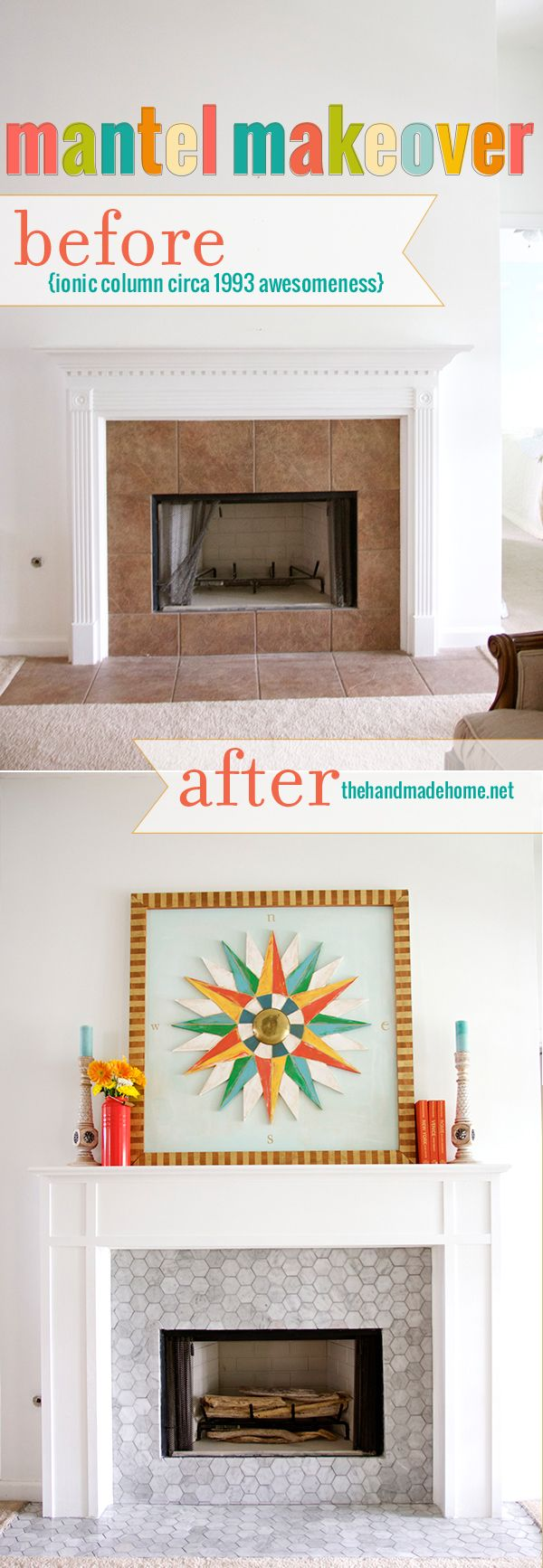 before and after retiling fireplace surround not crazy about the octagonal tile on the fireplace - Fireplace Surround Ideas