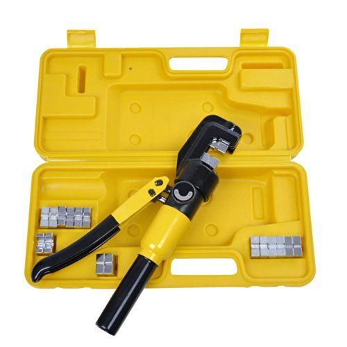 Yescom 10 Ton <b>Hydraulic</b> Wire Battery Cable Lug Terminal Crimper ...