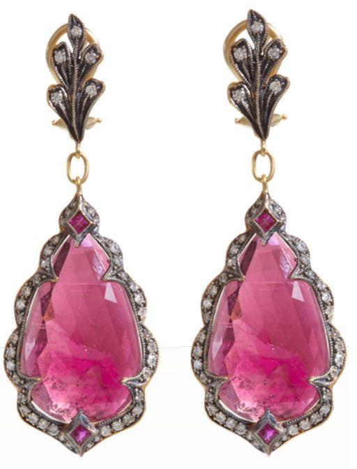 Cathy Waterman pink sapphire earrings. Via Diamonds in the Library.