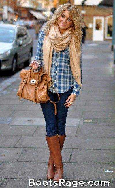 Sort-of wearing this today.  Only I have a burnt orange shirt on under a small plaid shirt and a orange and and tan scarf.  I think I will even try to wear my hair like that!
