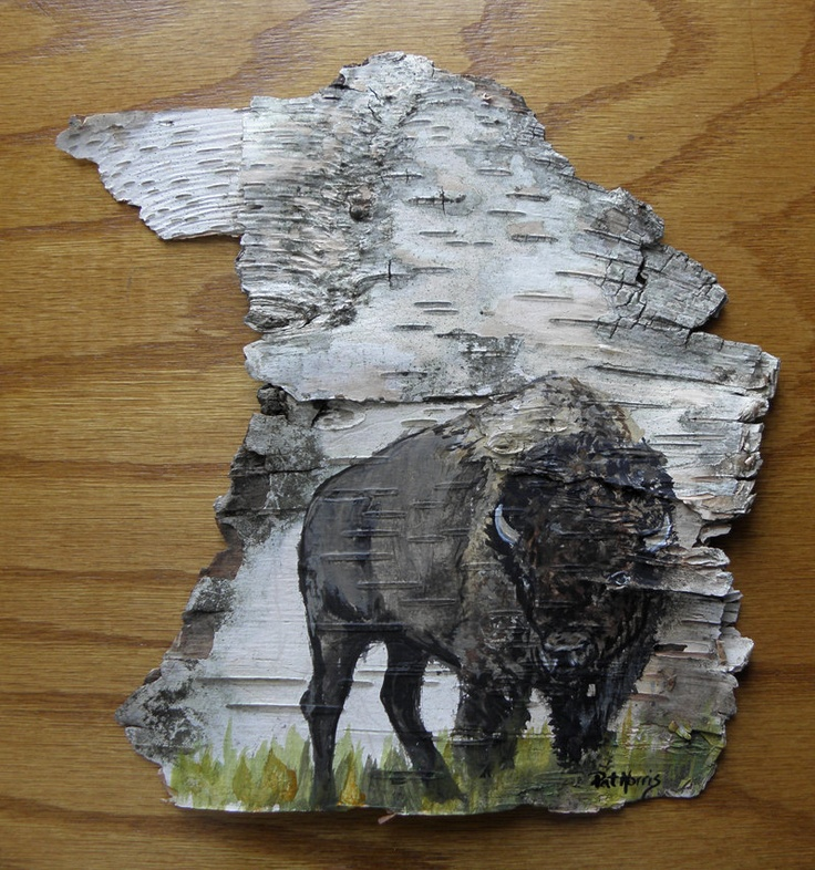 Hand Painted Bison Buffalo on Birch Bark Framed by patmorrisartist. $50.00 USD, via Etsy.