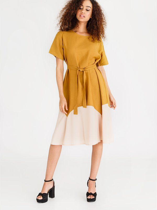 a166aa0cd74 CRAVE Helena Two-tone Summer Dress Yellow