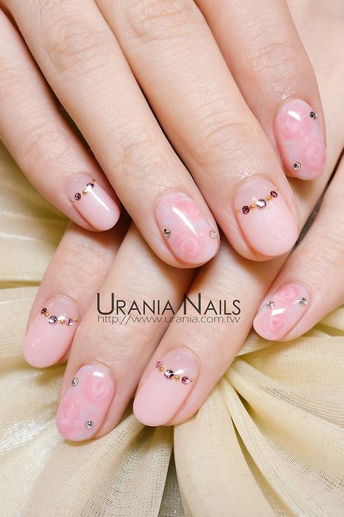 Nails, Nail Art, Nail Design, Manicure, Oval Nails, Roses, Rhinestones, Studs, Shimmer, Half Moon, Cut Out, Pink, Gold, Silver, White, Simple, Pretty, Girly, Spring, Easter