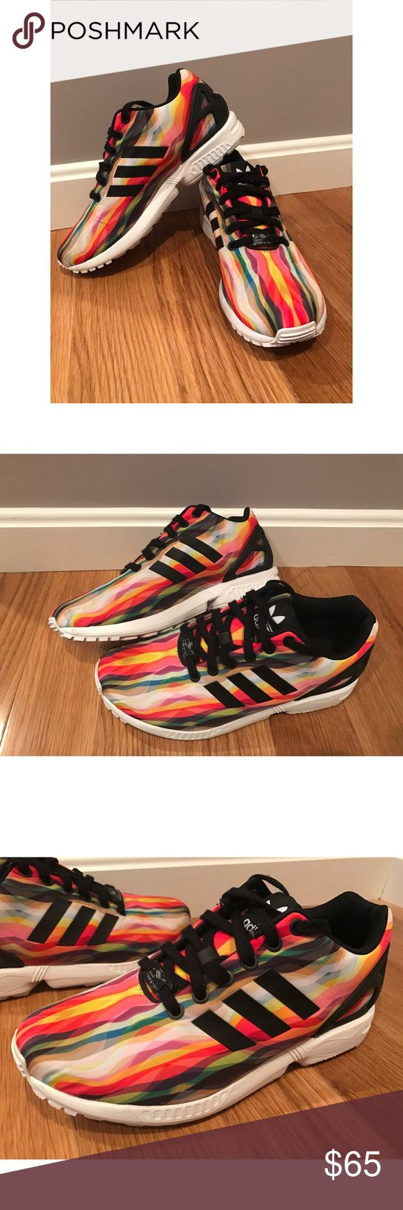 Adidas ZX Flux Torsion Shoes - READ FOR SIZE! Adidas Women's ZX Flux Torsion Shoes. Size 7, but they run large and are more like a size 8. I'm normally an 8 in shoes and these fit me perfect. They've only been worn once! I have far too many shoes and these are just collecting dust. This print is hard to find! I do not have the box anymore. From a smoke-free home as well. No trades! Price is firm! Adidas Shoes Athletic Shoes