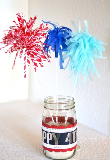 Tissue Paper Sparklers by An Ounce of Creativity: Craft, Decoration, Holidays, 4Th Of July, Fun, July Decor, Creativity, Party Ideas