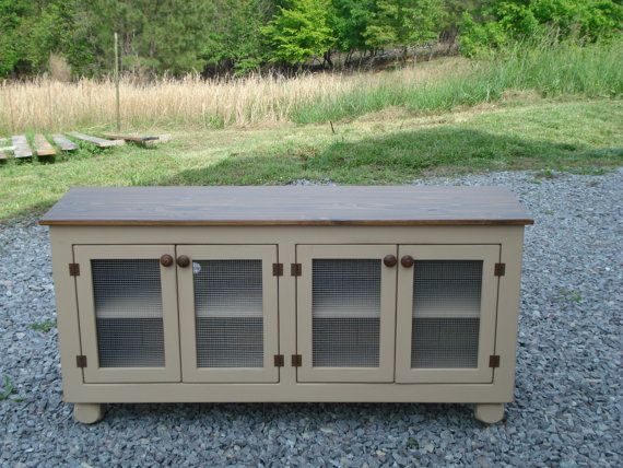Rustic Media Console, Distressed TV Stand, Media Cabinet