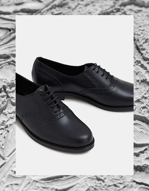 ESPRIT black leather brogues. The