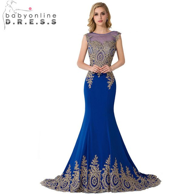 Luxury Vestido De Baile Real Photo Royal Blue Gold Lace Appliques Long Mermaid Prom Dresses 2015 Formal Evening Gowns