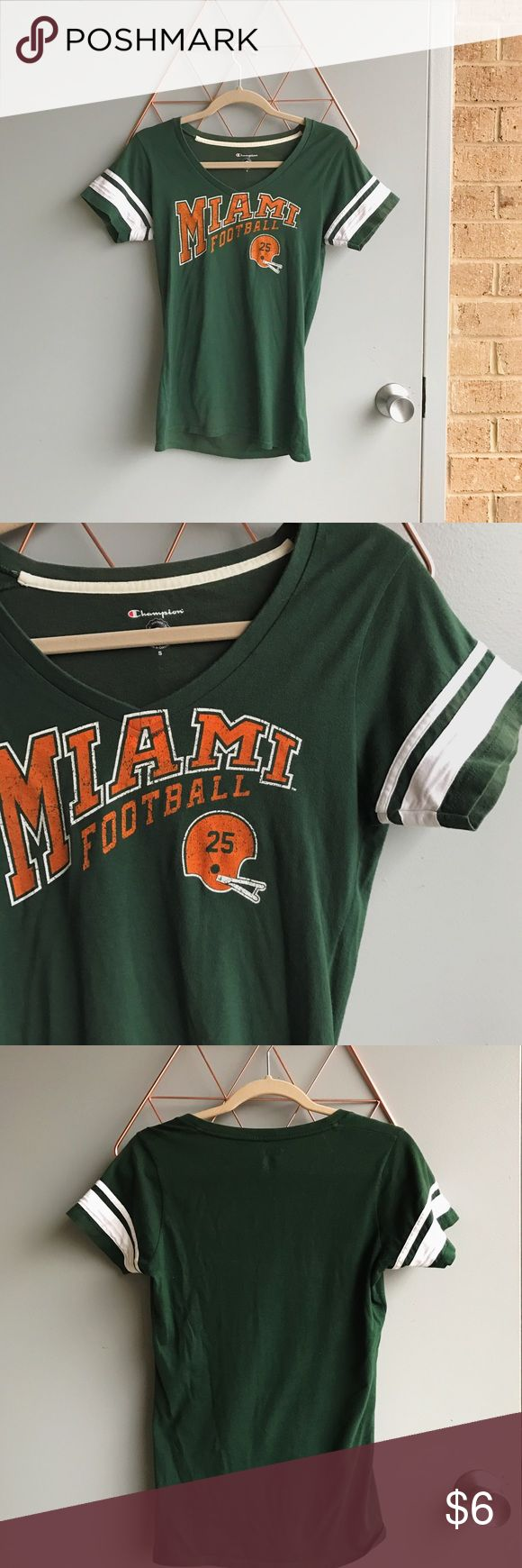 Miami University football tee Green U tee. Size S worn a few times. Champion Tops Tees - Short Sleeve