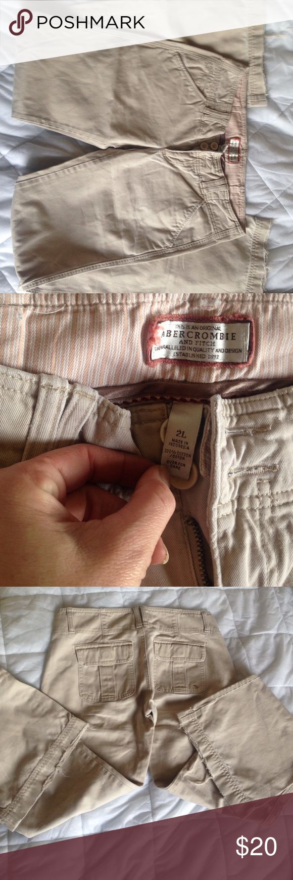 Abercrombie and Fitch trouser pants My favorite pants but they are to big for me now. Very loved but still have a lot of life in them. The bottoms are starting to fry just a bit. They are a size 2long Abercrombie & Fitch Pants Trousers