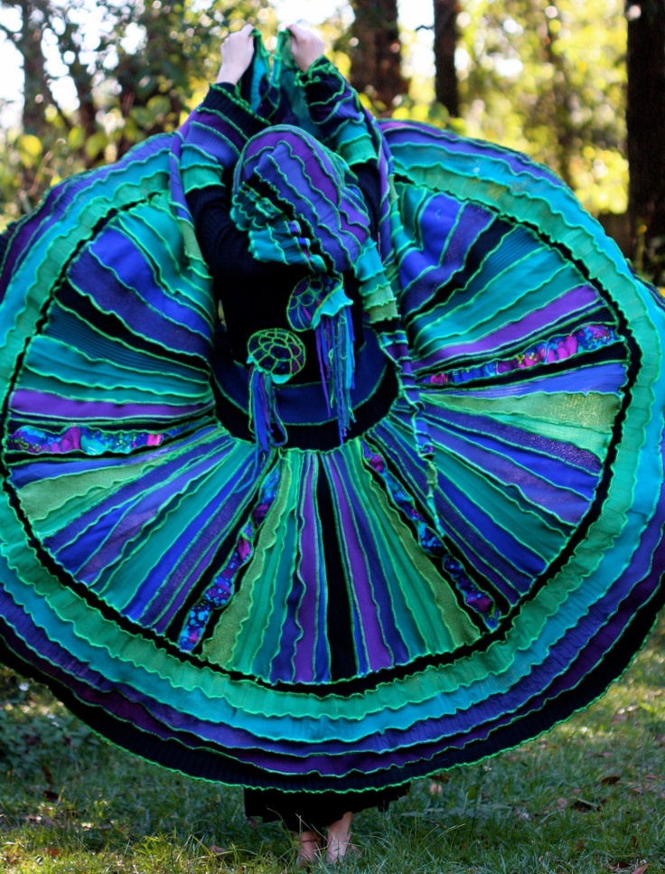 Recycled sweater coat  Kaleidoscope Jellyfish peacock gypsy  faery  patchwork  elf traveling gypsy  READY TO SHIP