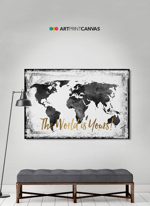 Wereld kaart canvas art print reizen kaart grote door ArtPrintCanvas