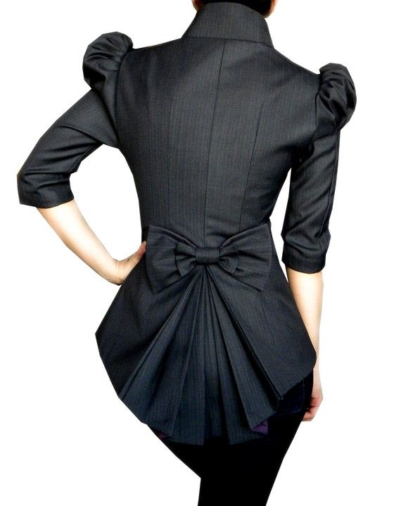 Edwardian for the 21st century.  Love the bow back, cap shoulders and 3/4 length sleeves. @KD Eustaquio Grey