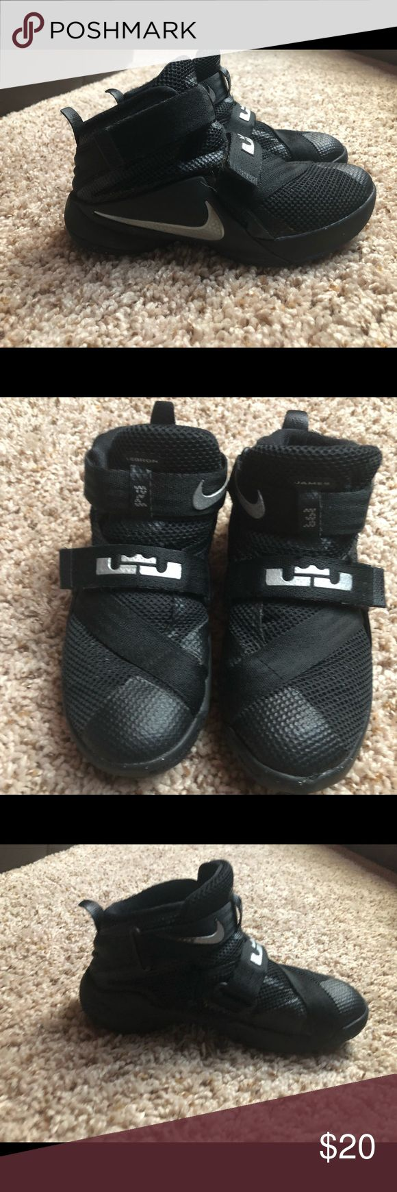 Kids size 12c LeBron (Nike) Gently used. Kids size 12c. Black and Silver Nike Shoes Sneakers