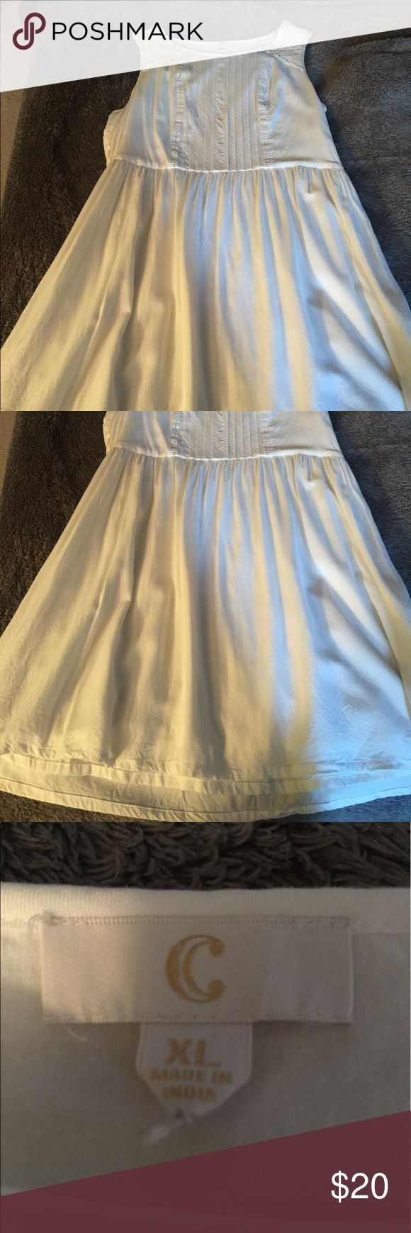 White Cotton dress Super comfy white cotton sundress from Charming Charlie! Not see through at all, like new condition- only worn once!  Hits around knee length Charming Charlie Dresses Mini