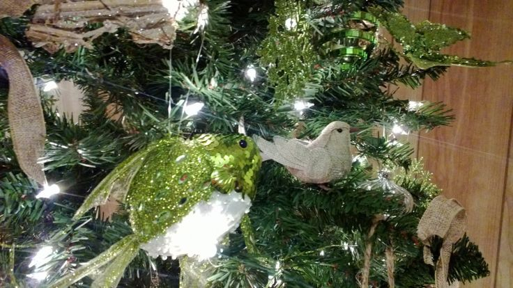 6 Bird Ornaments - SIX Decorative Artificial Burlap Birds Rustic Decor Home Decor Christmas Decorations Burlap Ornament Artificial Birds by SilkFlowersByJean on Etsy