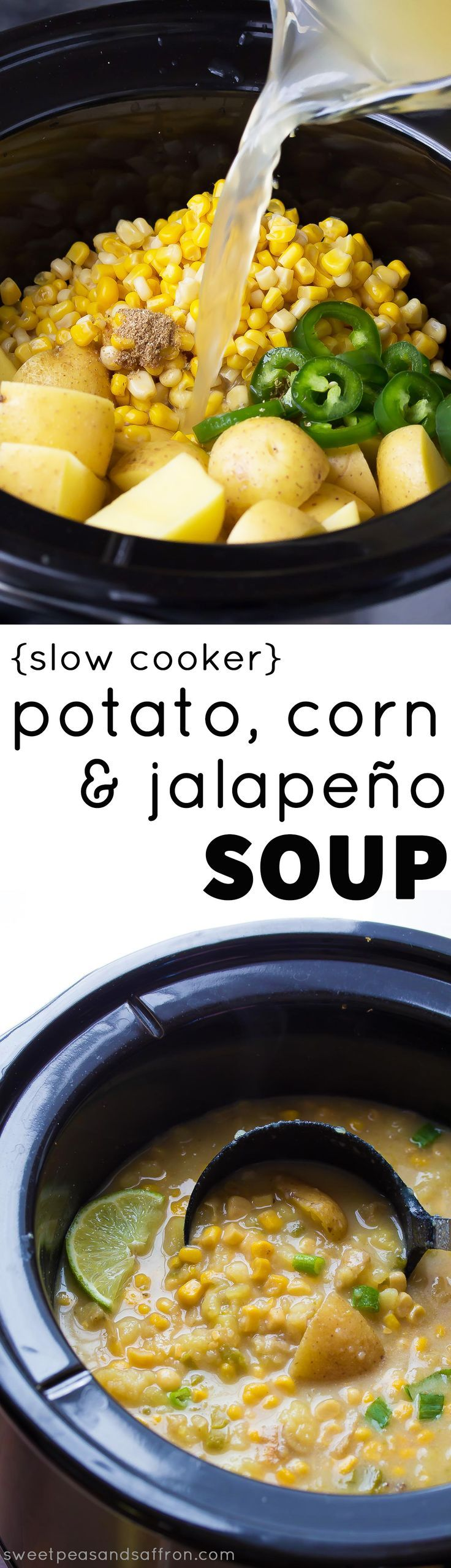 An easy and healthy vegan slow cooker potato corn soup recipe with jalapenos. It's so creamy, you'll never believe there are only 160 calories per bowl!