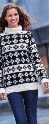 Черно-белый свитер с жаккардовым узором