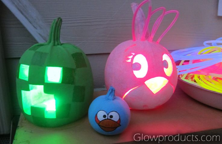 Custom Glowing Pumpkins using LED Decor Lights and Glow Sticks! http://glowproducts.com #GlowPumpkins #GlowSticks