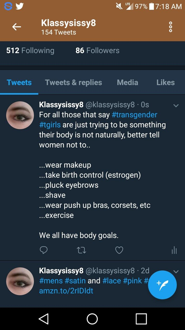 For all those that say #transgender #tgirls are just trying to be something their body is not naturally, better tell women not to.. ...wear makeup ...take birth control (estrogen) ...pluck eyebrows ...shave ...wear push up bras, corsets, etc ...exercise We all have body goals.