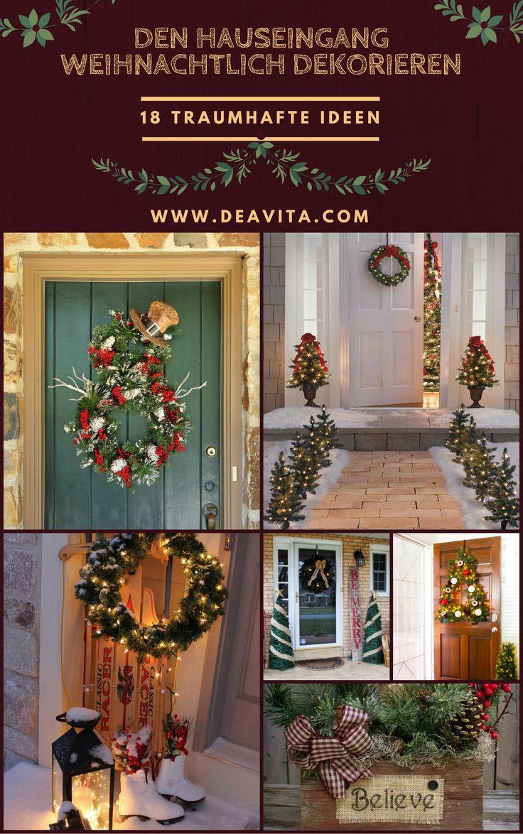 die besten 25 weihnachtlich dekorieren hauseingang ideen auf pinterest holzdeko weihnachten. Black Bedroom Furniture Sets. Home Design Ideas