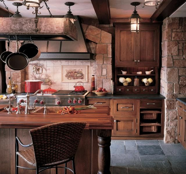 love the stone and the hanging pots and pans!