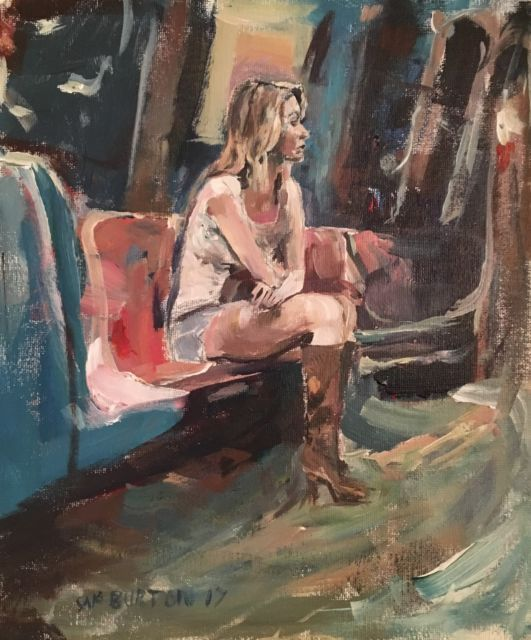 Original Painting collected Artist Samuel Burton Woman alone on the train Art | eBay