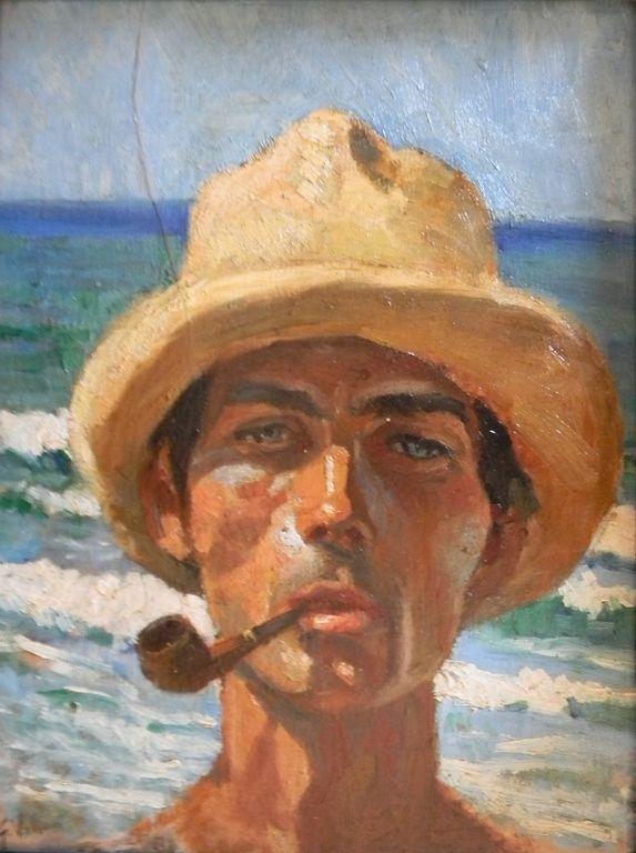 """Gennaro Villani (Italian painter, 1885 - 1948) - """"Figura di pescatore con cappello di paglia"""" (Fisherman with straw hat)"""