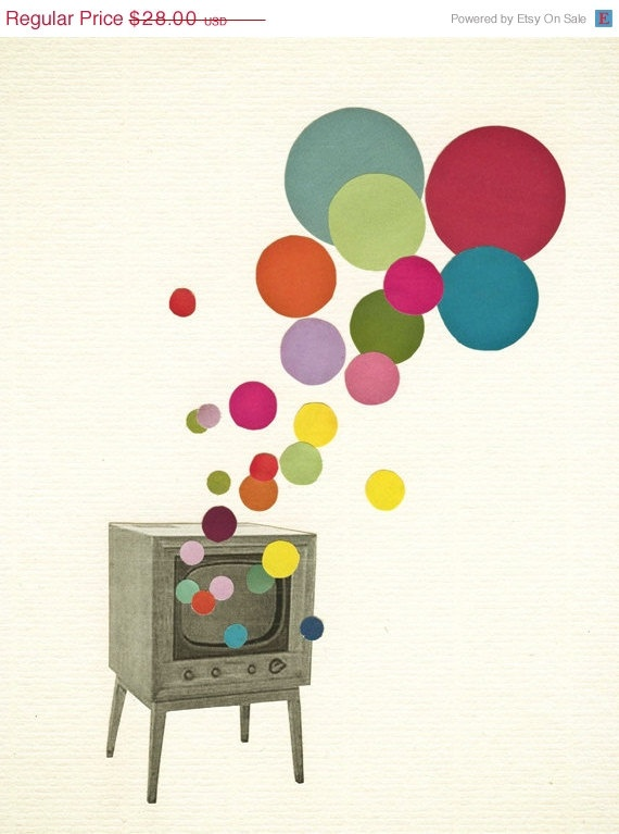 Retro Wall Art Pop Poster Collage Print Colour Television In 2018 Mid Century 60 S Modern Pinterest And