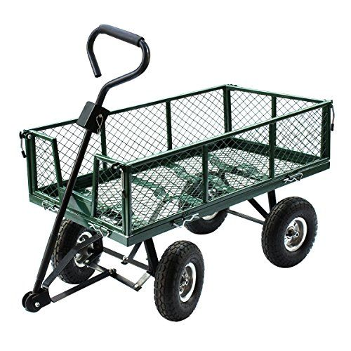 F2C Heavy Duty Steel Utility Garden Cart 485lb Capacity with Removable Sides Green Wheelbarrow Wagon Dump Dolly Lawn Green >>> For more information, visit image link.