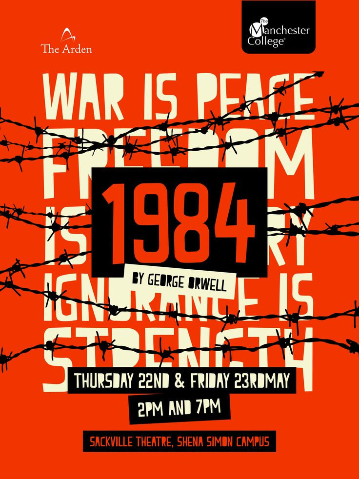 Poster for George Orwells '1984', performed by The Arden School of Theatre.  Designed by Sarah Cleworth