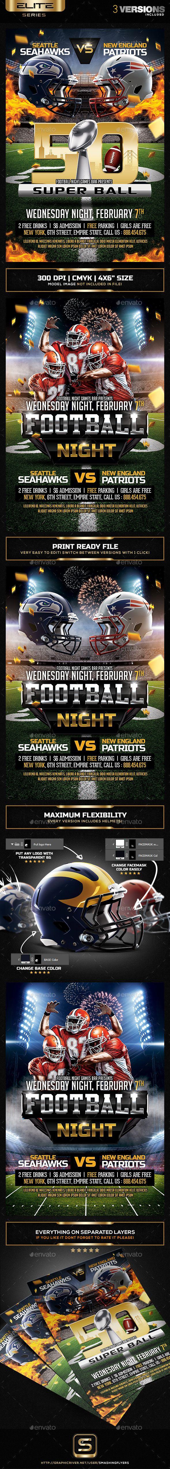 $9 -  American Football Flyer   #super bowl l #Super Bowl Party #superbowl