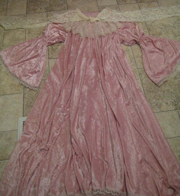 Vtg 1960's Pink Crushed Velvet Lace Full Maxi Peasant Dress Belle Sleeve S #Unbranded