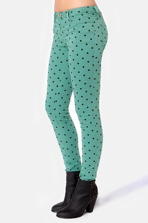 Cute Polka Dot Pants - Skinny Pants - Print Pants - Teal Pants - $45.00