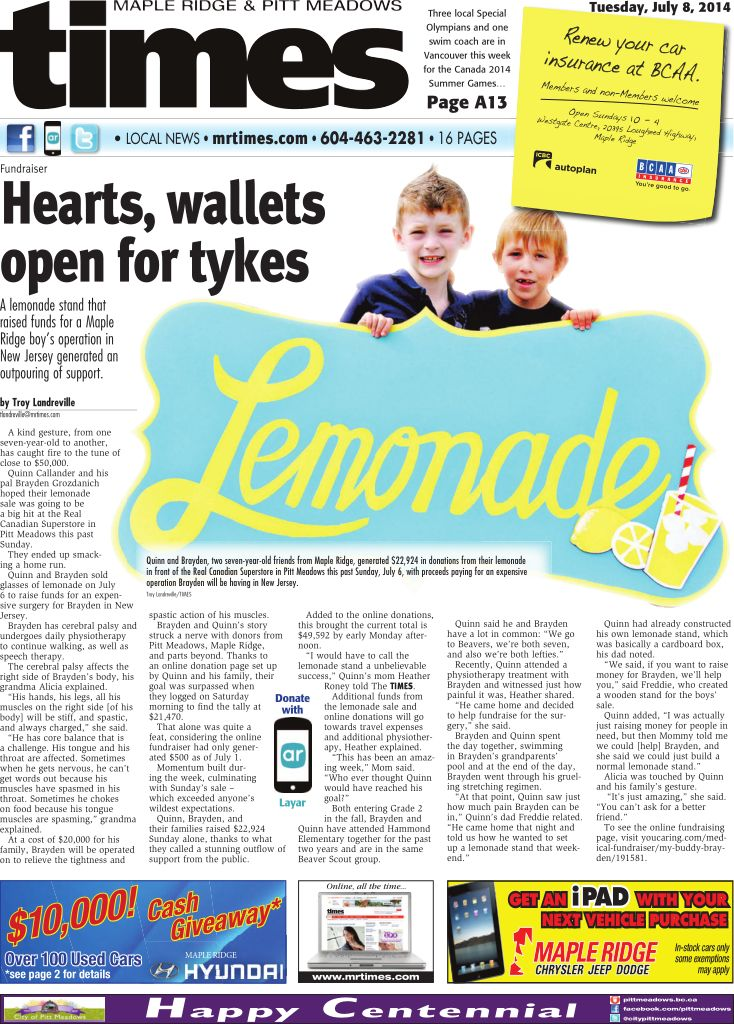 The TIMES augmented an article using @Layar, it is a community newspaper in Canada. A lemonade stand that raised funds for a Maple Ridge boy's operation in New Jersey generated an outpouring of support. You can donate for the boy's surgery by scanning the image with your Layar App. @mapleridgetimes