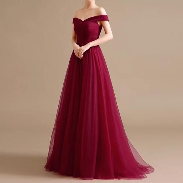 5ae8a8b74 Sexy V Neck Off Shoulder Tulle Long Bridesmaid Dresses in 2019 ...