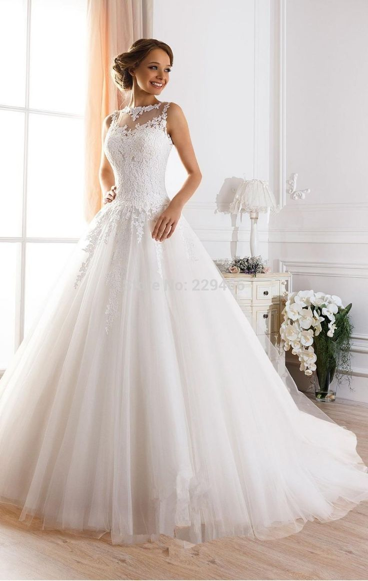 Superb  new sexy back Sexy Illusion Jewel Neckline A Line Sheer Wedding Dresses Gowns Princess Ball Gown Wedding Dresses Beaded Lace Fluffy