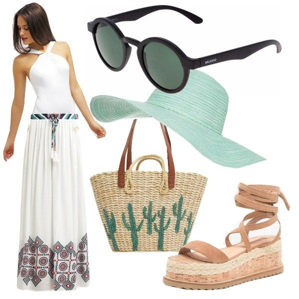Colori soft per un look romatico anche al mare. Costume bianco con intreccio sul collo, una gonna lunga e gli accessori color pastello rendono questo outfit fresco e romantico.