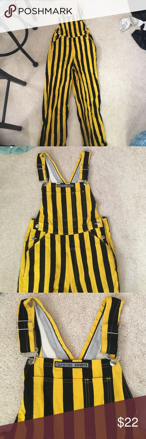 Iowa game bibs black and yellow overalls Iowa Hawkeyes fan? Size S/M Game Bib pant overalls! Worn at the bottom because it isn't a tailgate w out a lot of mud! Discount reflects that. Other