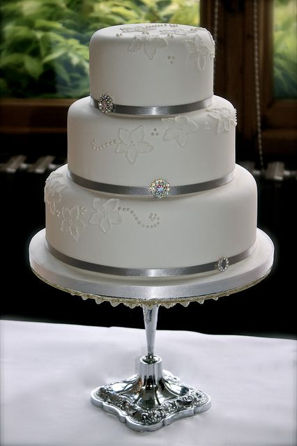 Small,Simple & Elegant but with buttercream - no fondant....red ribbon w/ gems? or black ribbon with red gems? Like the idea of putting small cake on pedestal.