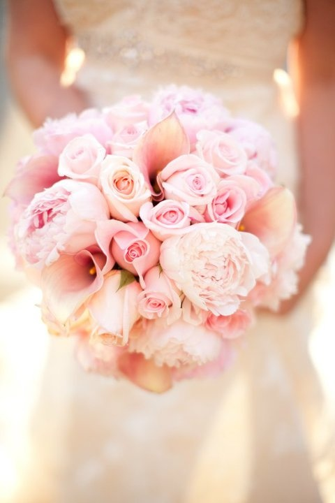 Bridal bouquet - Soft Pink Peonies, Pink Roses, Pink Calla lilies