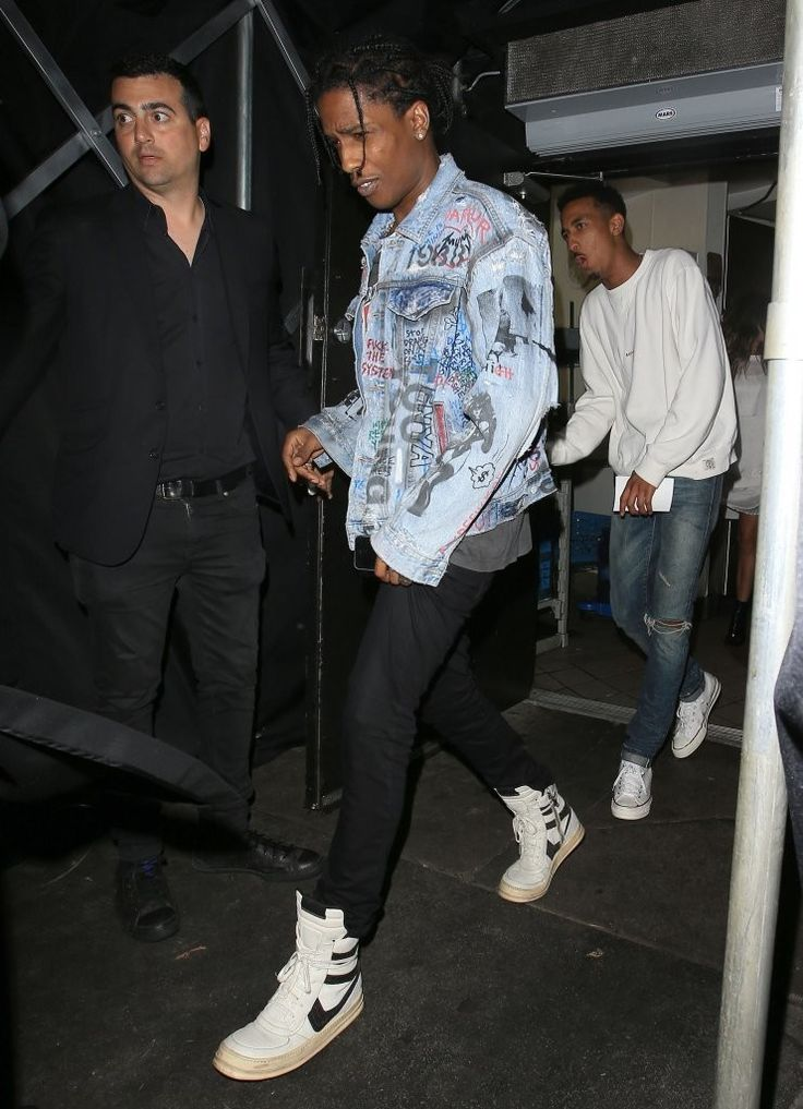 ASAP Rocky Spotted Leaving Nice Guy LA wearing Vintage Spring/Summer 2008 Rick Owens Dunk Sneakers | UpscaleHype