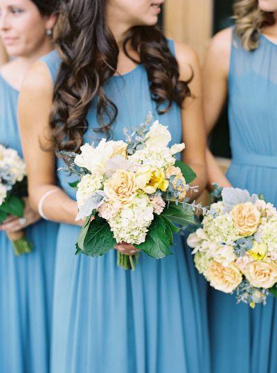 Peach bouquets: http://www.stylemepretty.com/2015/01/29/french-blue-peach-southern-farm-wedding/ | Photography: Adam Barnes - http://www.adambarnes.com/