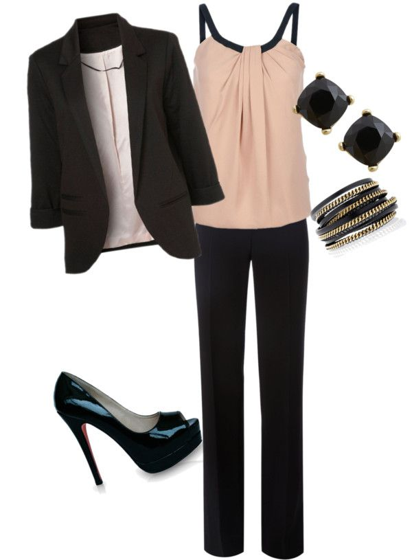 Classy, professional--(if you're very young. I'd wear a different pink top and low heels-skh)
