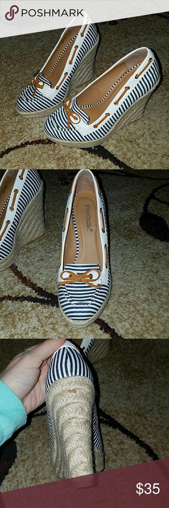 Nautical shoes In excellent condition nautical wedges Shoe Dazzle Shoes