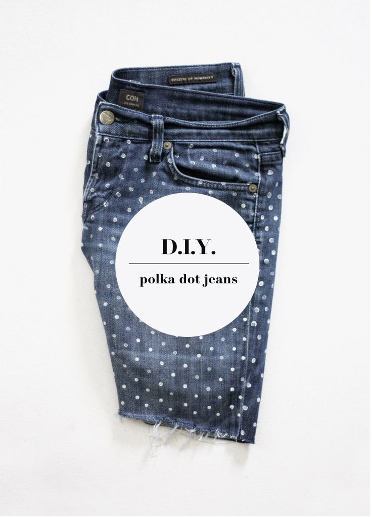 polka dotted jeans diy at a merry mishapDiy Ideas, A Mini-Saia Jeans, Diy Polka, Polka Dots, Dots Jeans, Dots Denim, Jeans Diy, Merry Mishap, Old Jeans